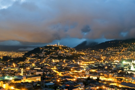 Night of the historical center of Quito, the capital of 'Ecuador