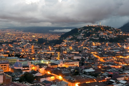Overview of the historical center of Quito at sunset