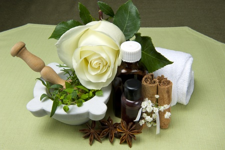 natural products for body care on colored background