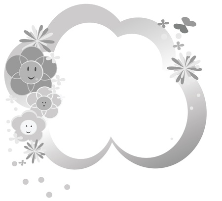 Cute flowers silver background