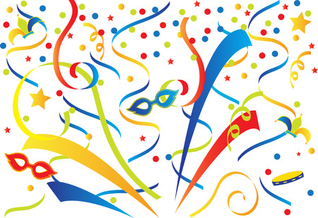 Carnival background with confetti and ribbons