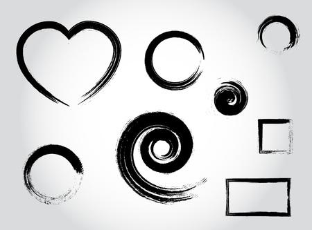Illustration pour Ink calligraphy strokes. Heart shape, round, circle, spiral, square black set elements vector - image libre de droit