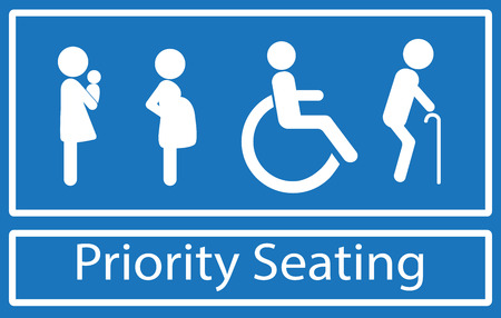Illustration pour Priority seating sign.  Disability, elderly, pregnant and woman with baby. Vector. - image libre de droit