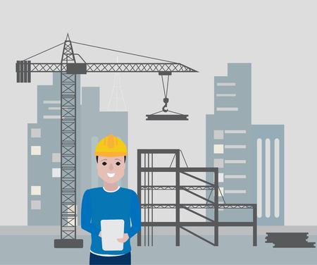 Ilustración de Engineer working on site icon. - Imagen libre de derechos