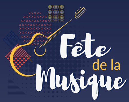 Fete de la musique. Music festival in French. Vector illustration background.