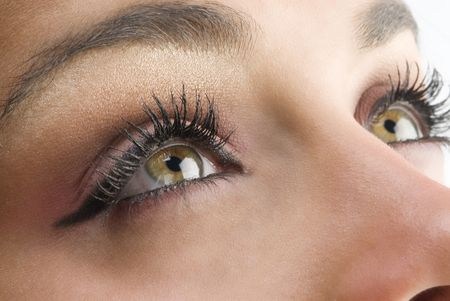 close up on the eyes of a young and beautiful woman