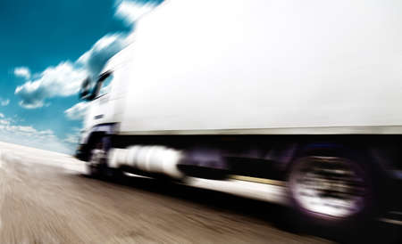 Foto de road speed. Trucks delivering merchandise - Imagen libre de derechos