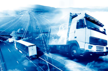 Foto de Abstract background Trucks and transport.Highway and delivering. - Imagen libre de derechos