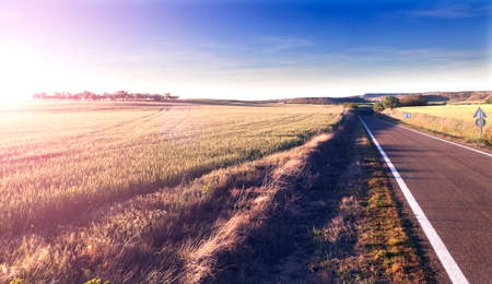 Photo pour Adventures and road trips.Sunset and travel concept.Road and fields - image libre de droit