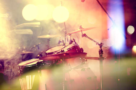 Photo pour Live music background. Drum on stage.Concert and night lifestyle - image libre de droit