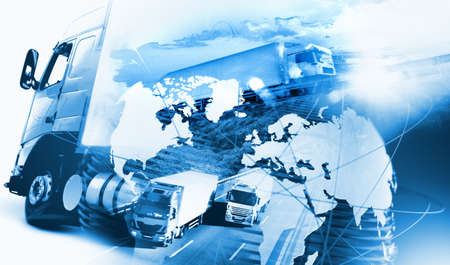 Photo pour Abstract design background Trucks and lorry transport.Highway and delivering.World map and international freight - image libre de droit