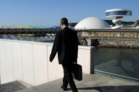 Access bridge  Niemeyer Center  in Ria of AVILES . Principado de Asturias . SPAIN