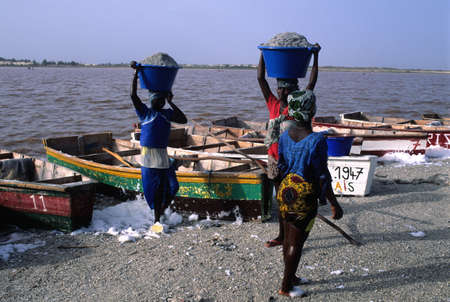 Woman carrying bucket of salt in the head. LAC ROSE  ( Retba ) Dakar Region SENEGAL