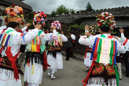 Dancers   Fiesta del Santo Niño  MAJAELRAYO ( Black Architecture route ) Province of Guadalajara . Castille - La Mancha . SPAIN