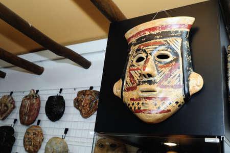 San Agustin  Mask   Hombres de Barro -  La Casona del Museo    in  BOGOTA .Department of Cundimarca. COLOMBIA