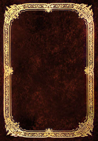 Old brown book cover with golden frame