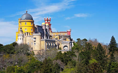 View of the beautiful of Pena palace in the national park of the Sintra hills in Portugal