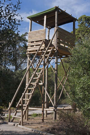 Wooden watch tower in the grove to prevent forest fires