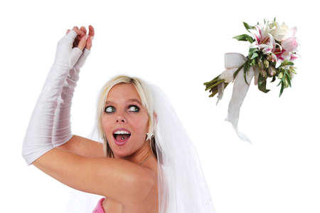 Bride tossing the bouquet isolated on a white background