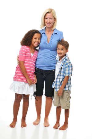 Mother and children posing isolated on a white background