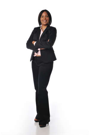 African American businesswoman standing and isolated on whiteの写真素材