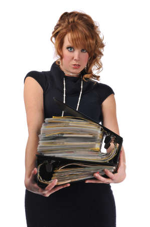 Office woman with a pile of files isolated against a white background