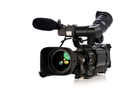 Professional video camera isolated on a white background