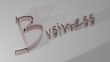 Business written with reddish semi-transparent 3D letters on white surface