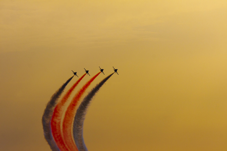 Turkish acrobatic aviation squadron flying over Izmir (Turkey)