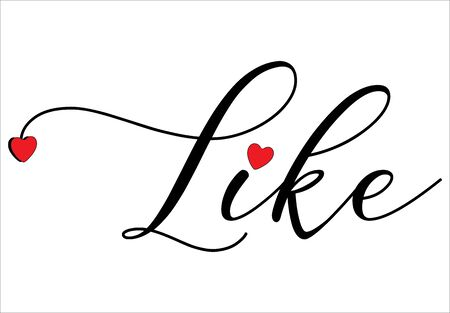 Illustration pour Like write on white background, with red hearts - vector - image libre de droit