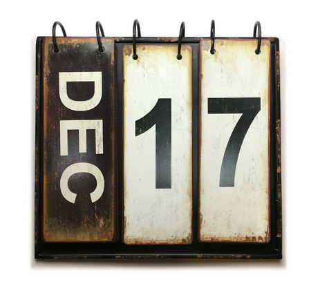 Photo for December 17 with vintage calendar on white background - Royalty Free Image