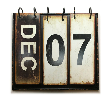 Photo for December 7 with vintage calendar on white background - Royalty Free Image