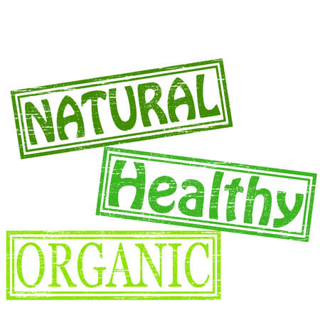 Stamp with words natural healthy and organic inside