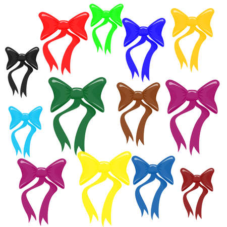Bow knot in different colors and size, vector illustration