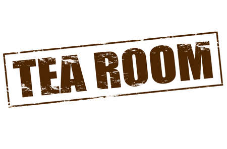 Rubber stamp with text tea room inside