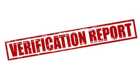 Rubber stamp with text verification report inside, vector illustration
