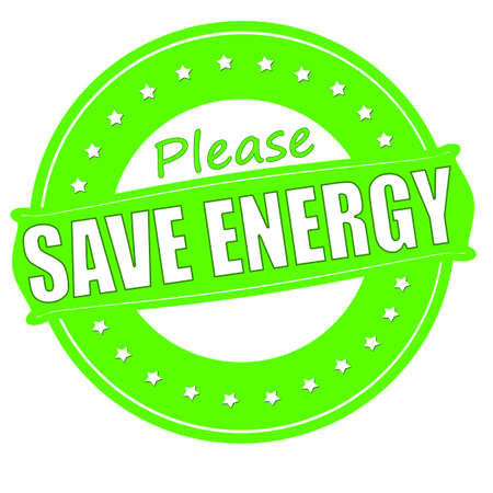 Stamp with text save energy inside, vector illustration