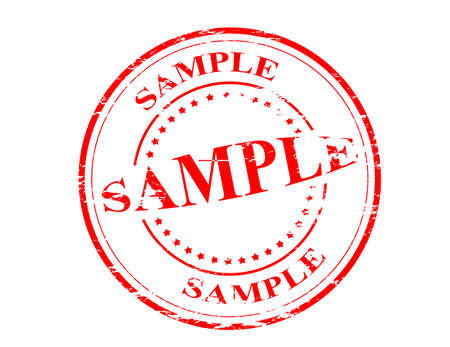 Stamp with word sample inside, vector illustration
