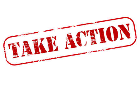 Rubber stamp with text take action inside