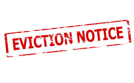 Rubber stamp with text eviction notice inside, vector illustration