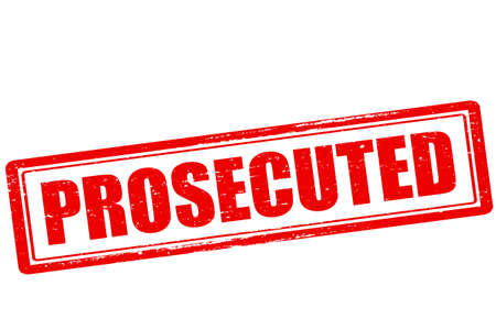 Rubber stamp with word prosecuted inside, vector illustration
