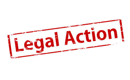 Rubber stamp with text legal action inside, illustration