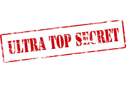 Rubber stamp with text ultra top secret inside illustration