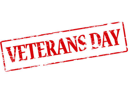 Rubber stamp with text veterans day inside, vector illustration