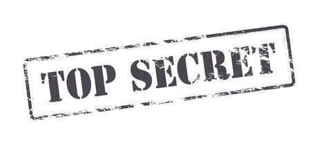 Rubber stamp with text top secret inside, illustration