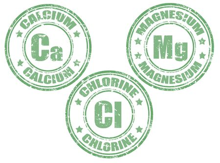 Grunge rubber set of stamps with calcium,magnesium and chlorine, illustration