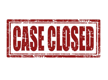 CASE CLOSED red rubber stamp over a white background
