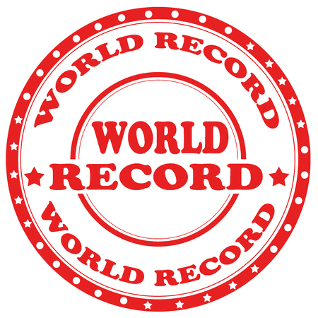 Red stamp with text World Record,vector illustration