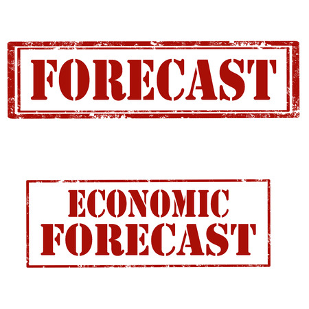 Set of stamps with text Forecast and Economic Forecast, vector illustration
