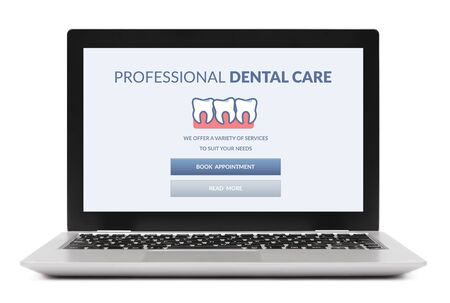 Foto de Dental care concept on laptop computer screen. Isolated on white background. - Imagen libre de derechos